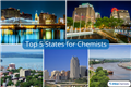 Collage displaying the five best states for chemistry jobs