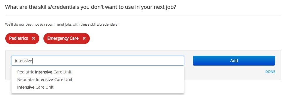 screenshot of ihire job seeker preferences page discard skills section with autocomplete