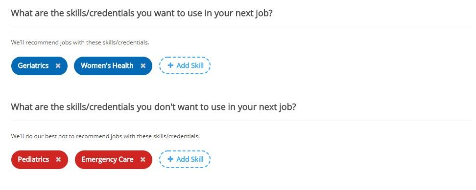 screenshot of ihire job seeker preferences page with discard skills section