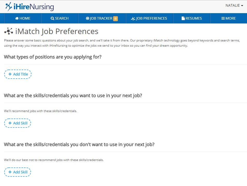 screenshot of ihire job seeker preferences page