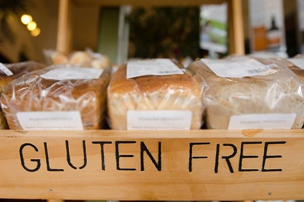 Gluten-free display at a grocery store