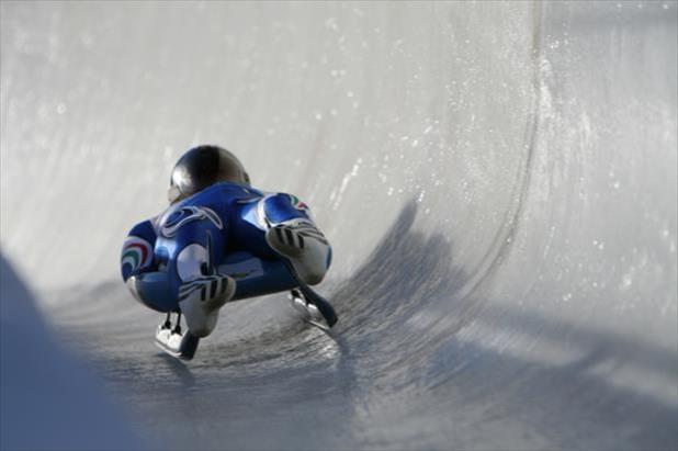 Olympic athlete on luge track