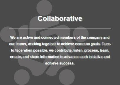 Definition of iHire's core value: collaborative