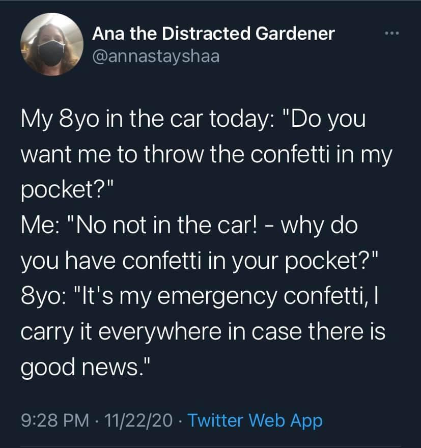 A woman explains how her eight year old daughter carries emergency confetti.