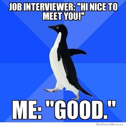 job interviewer hi nice to meet you me good
