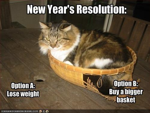 meme: New Year's Resolution – Option A: Lose weight. Option B: Buy a bigger basket.