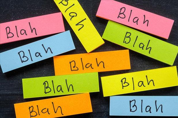 "Group of colorful blocks with ""blah"" written on them"