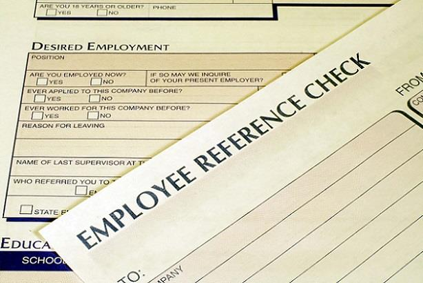 Closeup of employment forms for reference checks