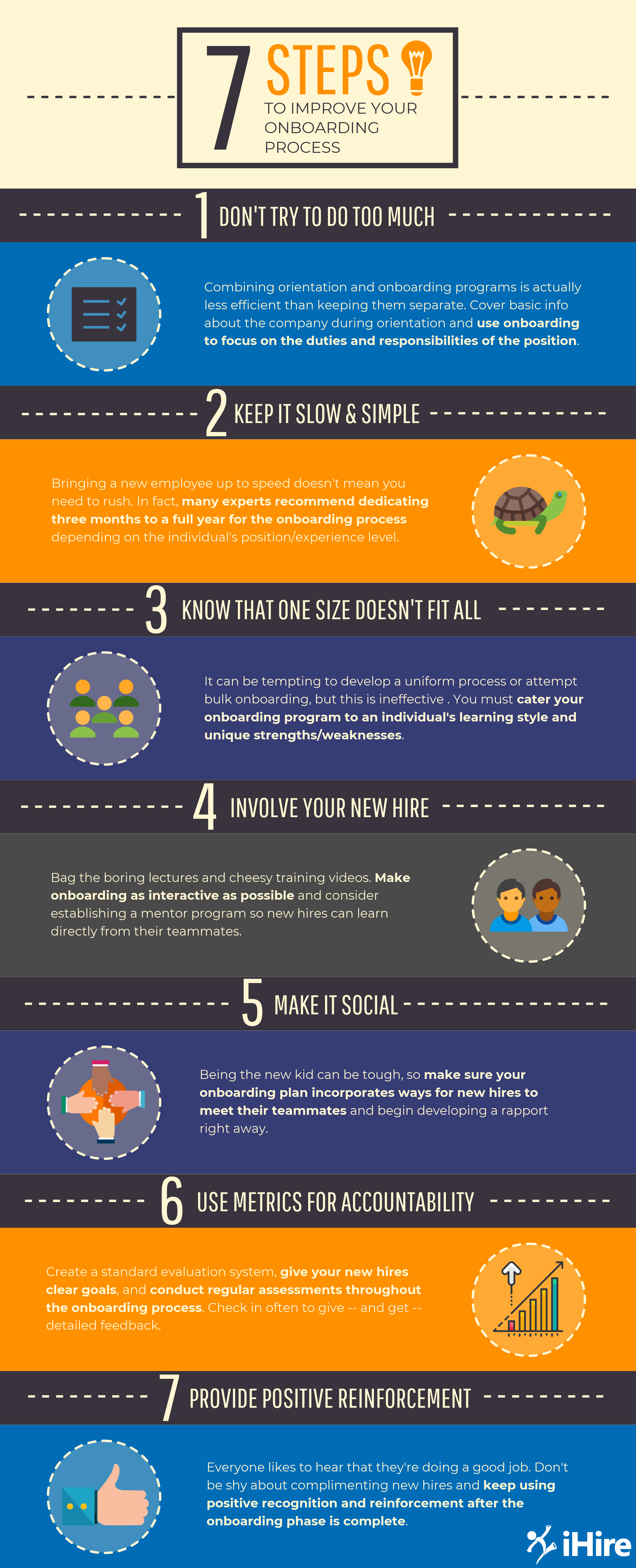 Advice on how to improve your onboarding process in seven steps. Infographic.