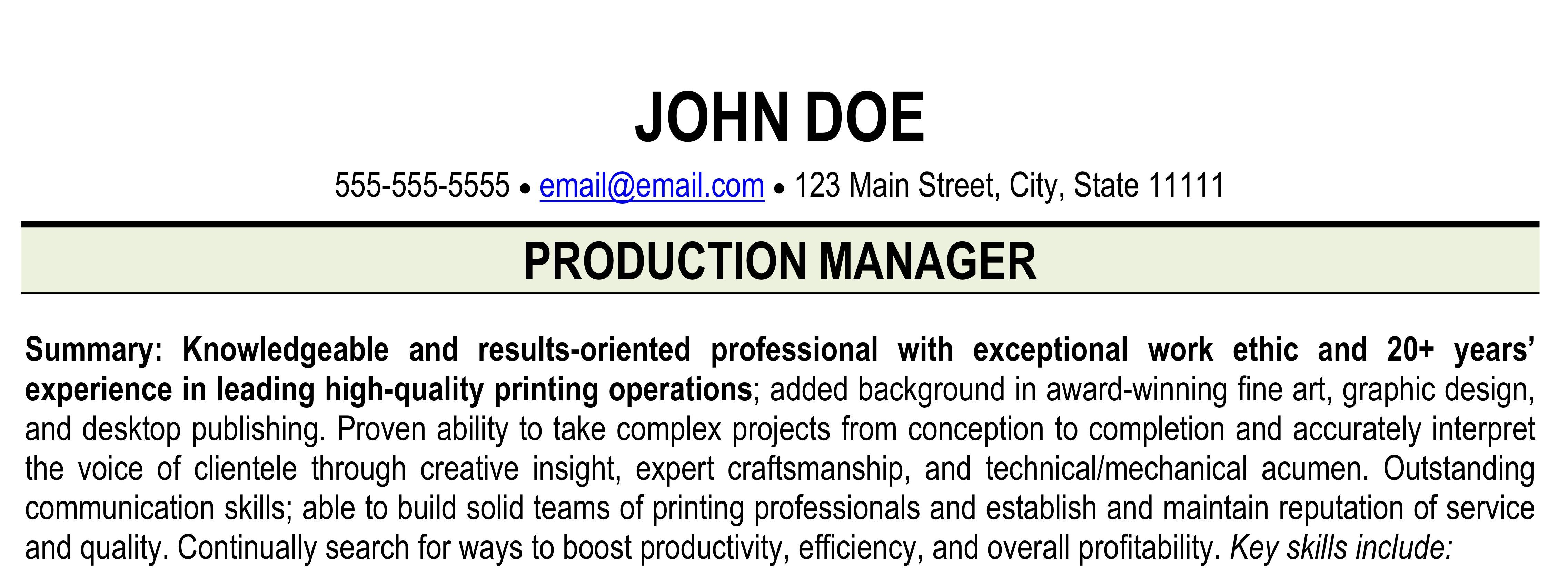 Print production manager resume example with title and summary