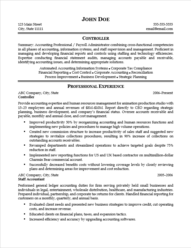 Page 1 of resume sample