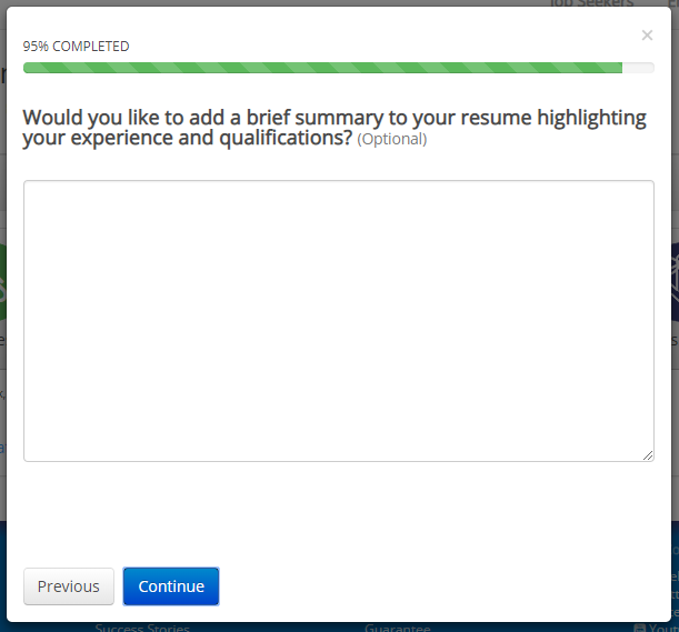 iHire's Resume Builder includes an option to add a summary paragraph