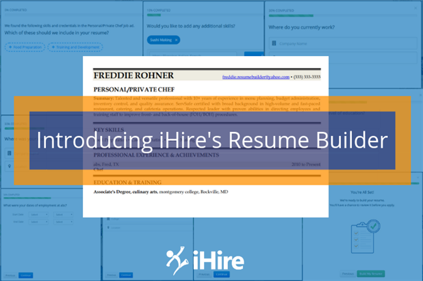 Collage with screenshots of iHire's resume builder