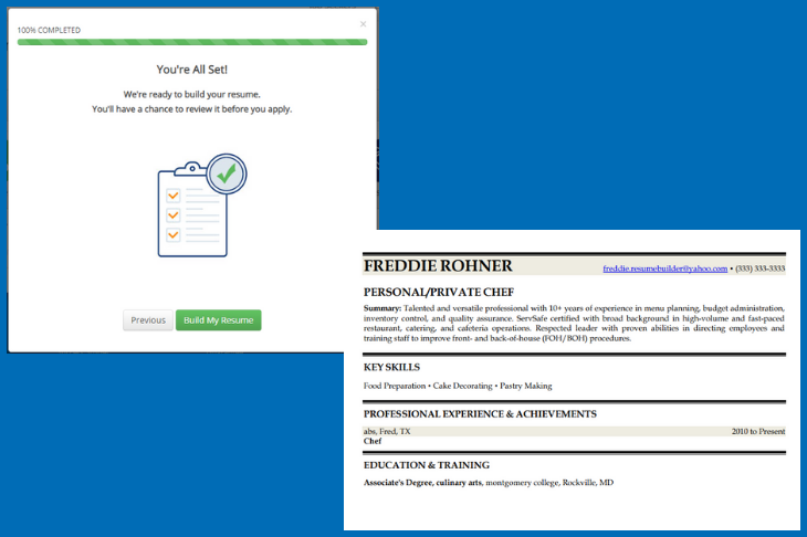Image showing final step of iHire's Resume Builder along with the finished product