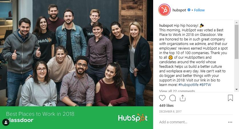 screen shot of a hubspot instagram post