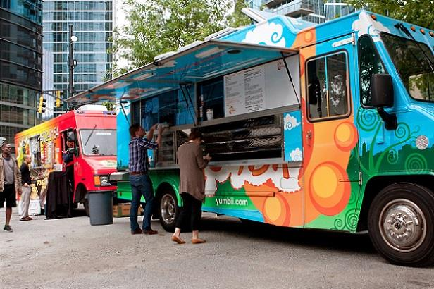 Food trucks doing business on a city street