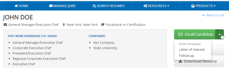 "screen shot of a close up of ihire's resume search tool showing the ""email candidate"" button"