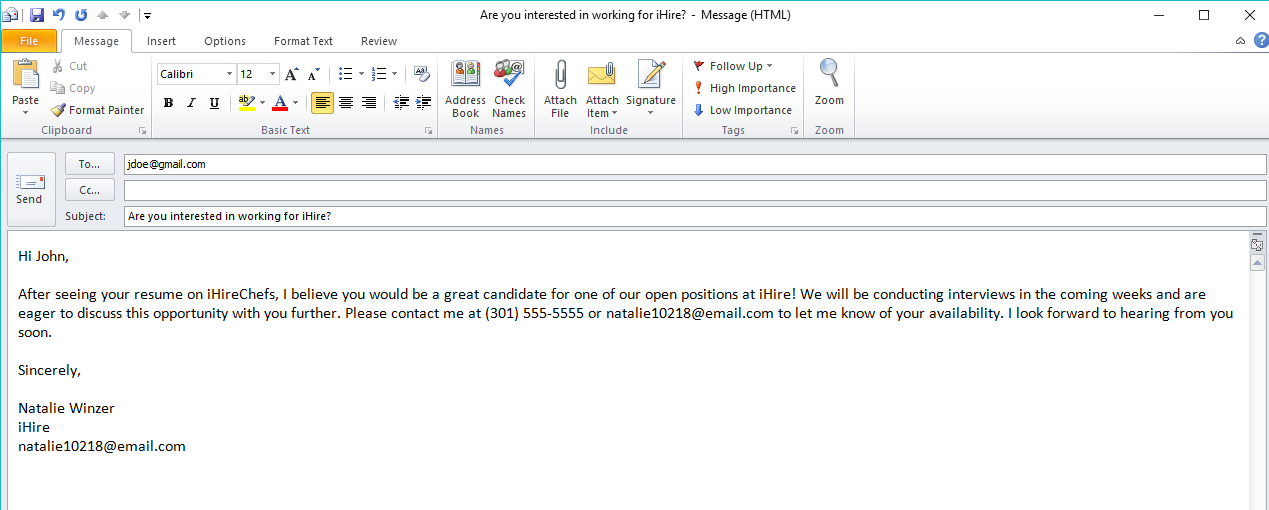 screen shot of ihire's resume search email template for contacting candidates