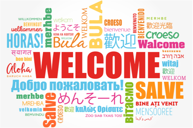 Word cloud showing many different languages