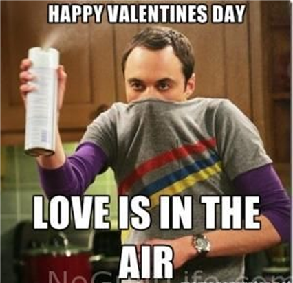 """Meme: """"Happy Valentine's Day. Love is in the air."""""""