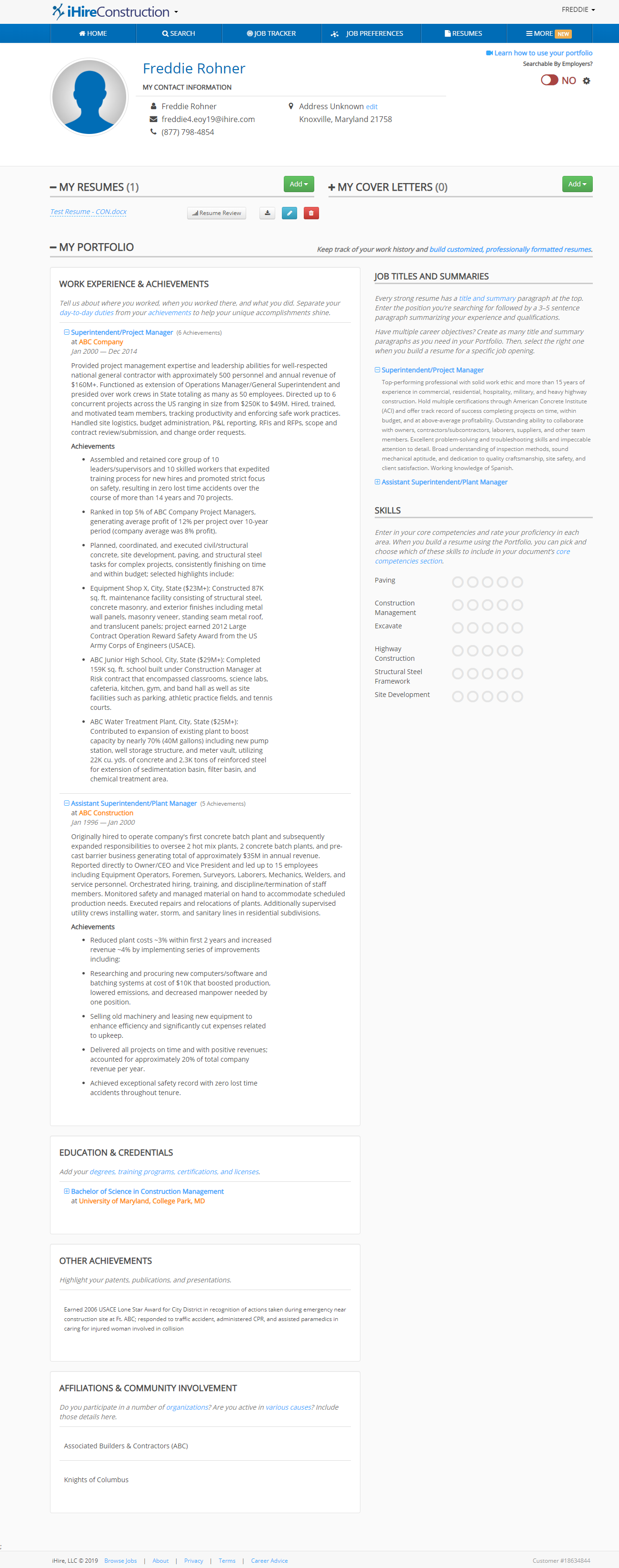 Screenshot of iHire's Portfolio tool with user-created master resume