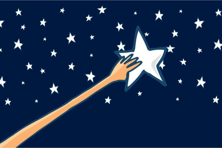 Illustration of hand reaching for a star