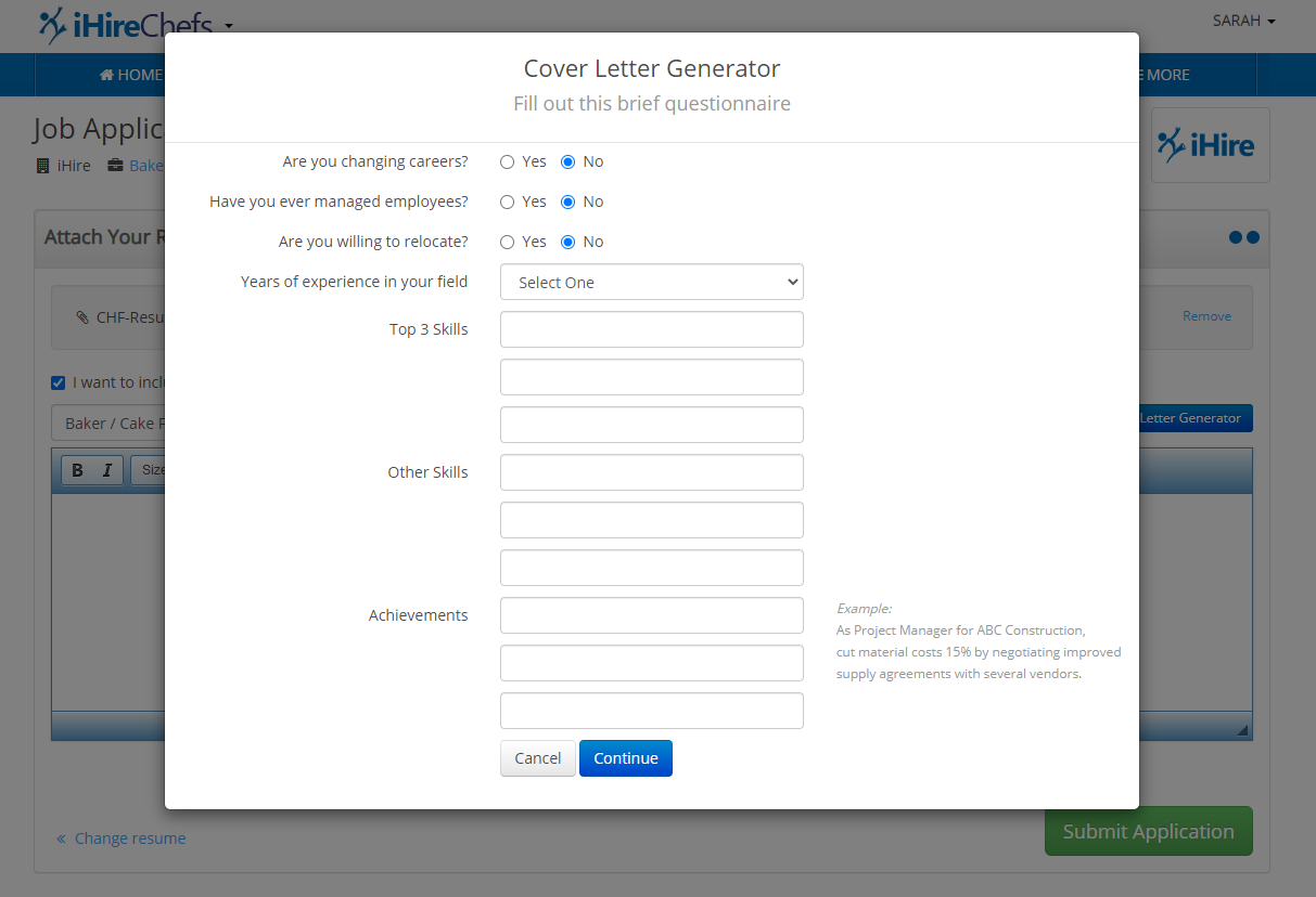 Fill out Cover Letter Generator questionnaire
