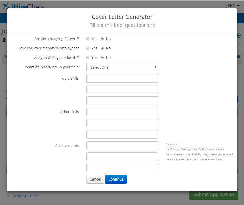 Screenshot of iHire's Cover Letter Generator questionnaire