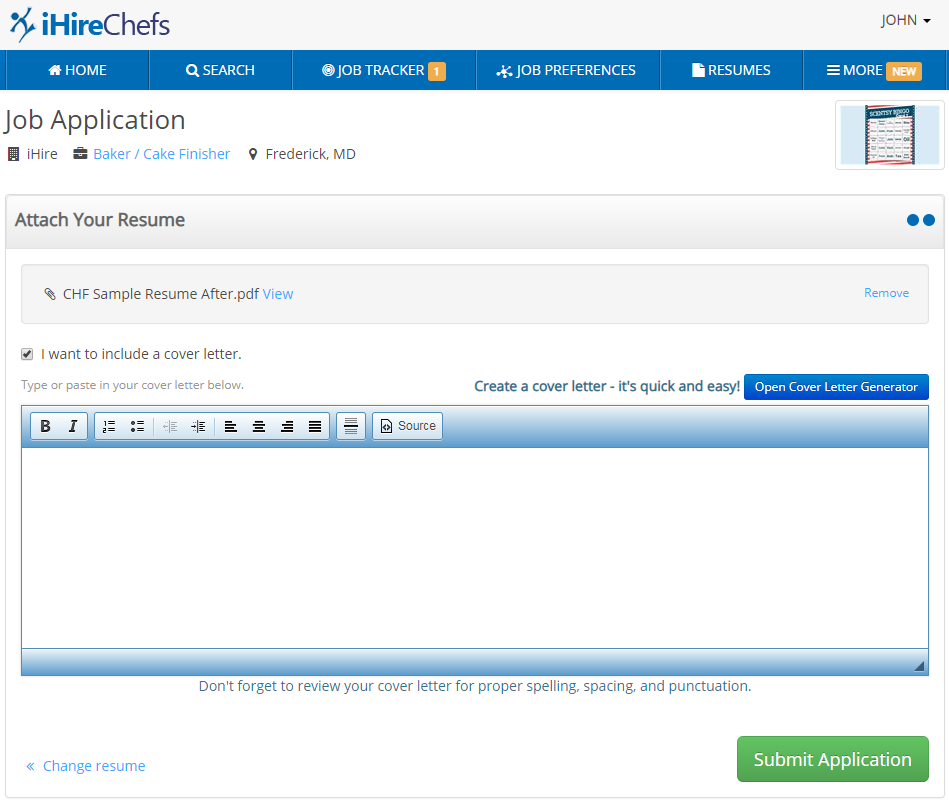 Screenshot of iHire job application process showing prompt to include or create a cover letter