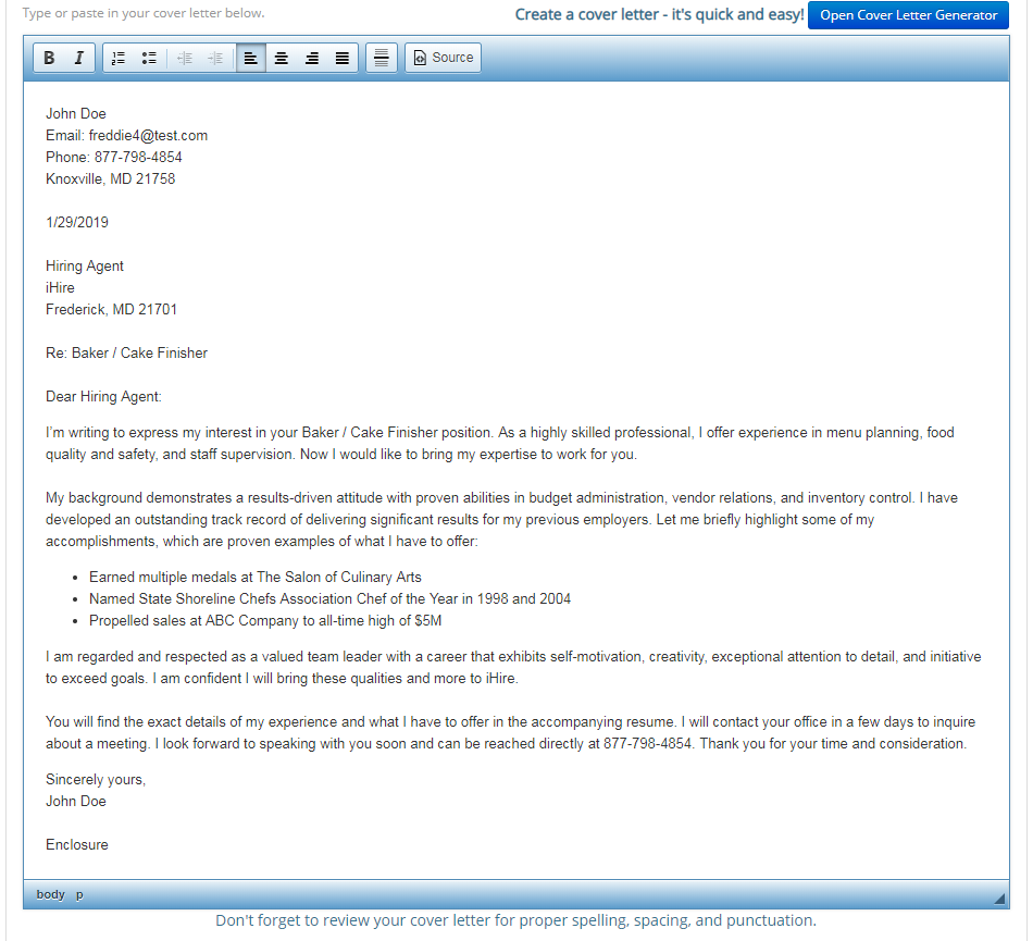 Screenshot previewing the draft created by iHire's Cover Letter Generator tool