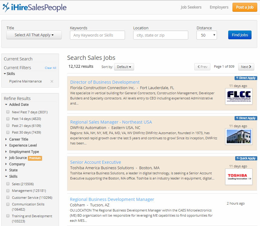 Screenshot of job search using iHire's trending work skills widget