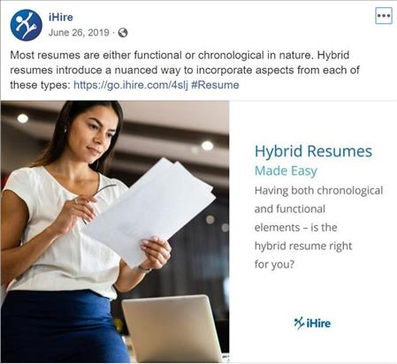 ihire facebook post featuring hybrid resume article