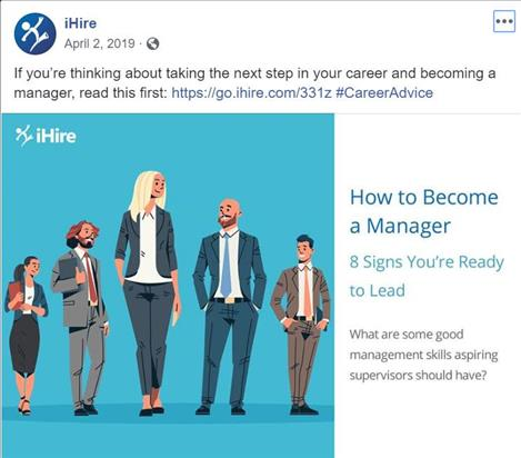 ihire facebook post featuring how to become a manager article