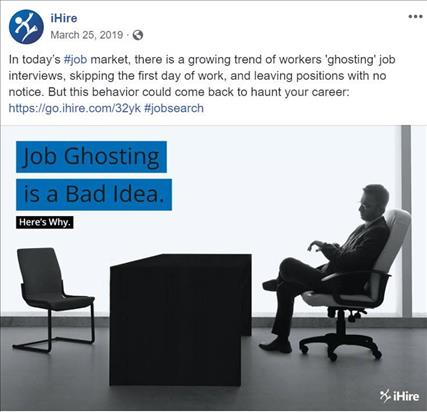 ihire facebook post featuring job ghosting article