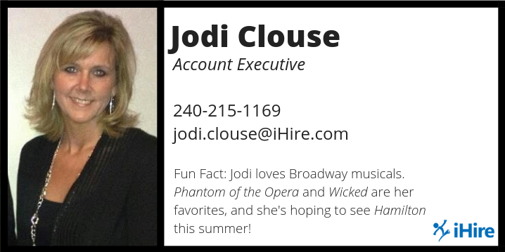 ihire account manager jodi clouse business card graphic