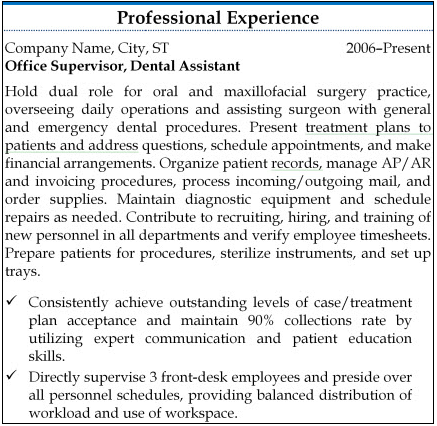 Example professional experience section for an office supervisor and dental assistant