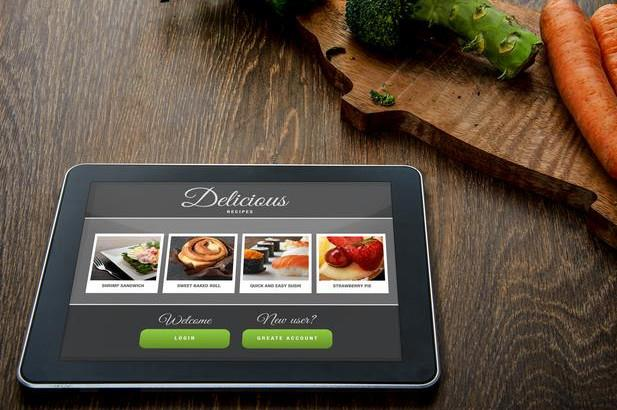 tablet with a recipe app open
