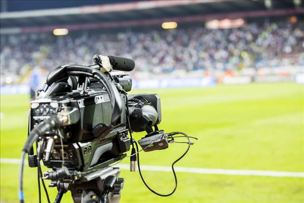 Camera filming sports arena