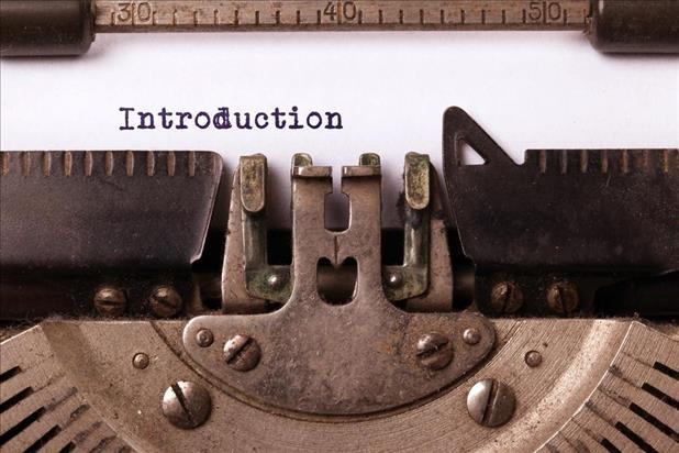 Introduction typed on a typewriter