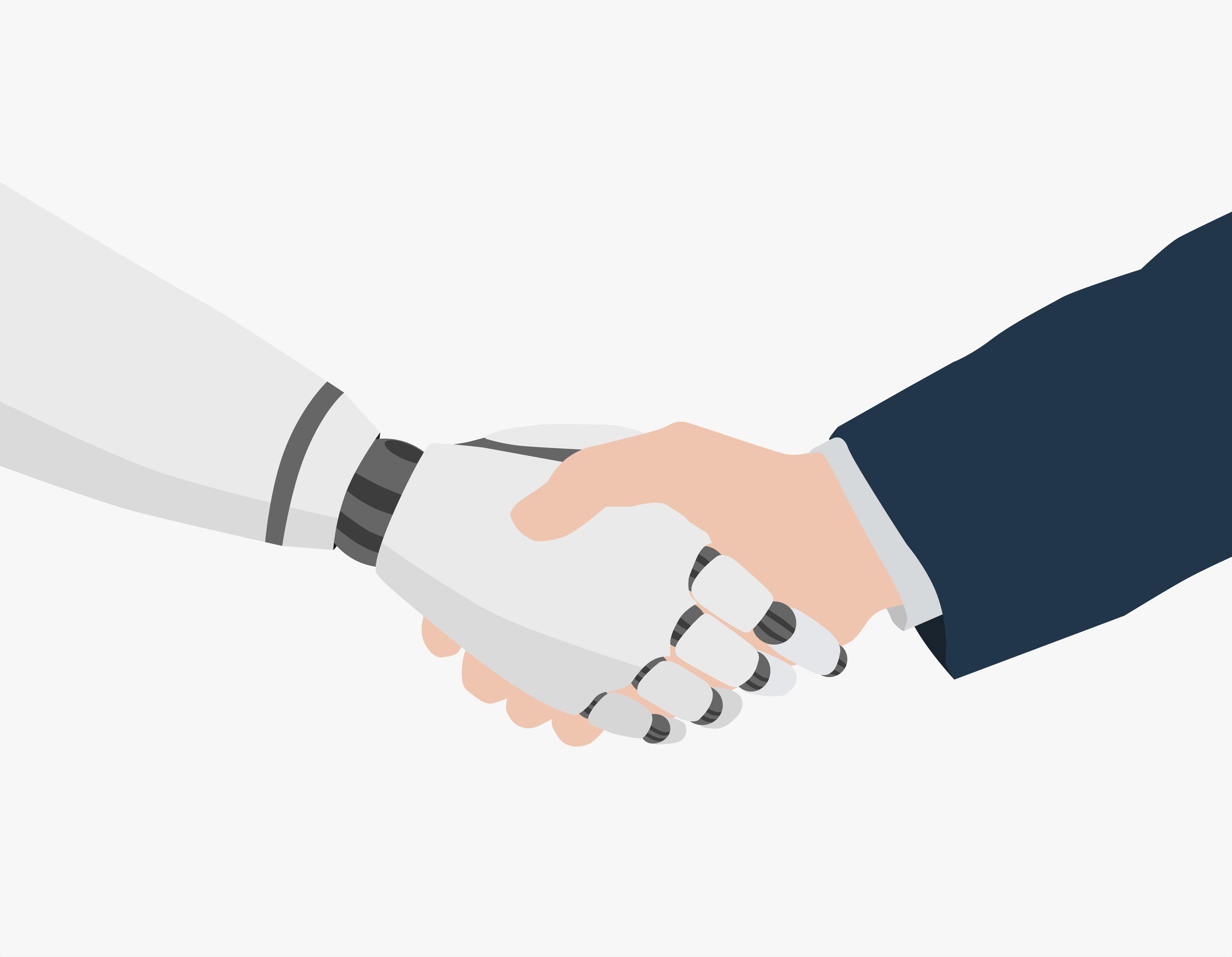 A robot and a human shake hands
