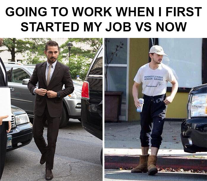 Going to work when I first started my job vs. now.