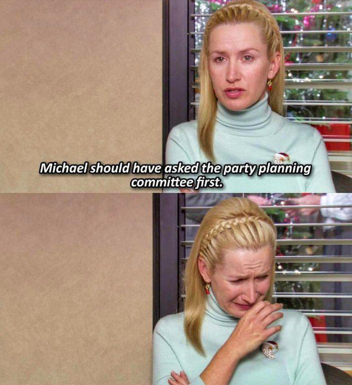 Angela from TV show The Office crying about the holiday party.