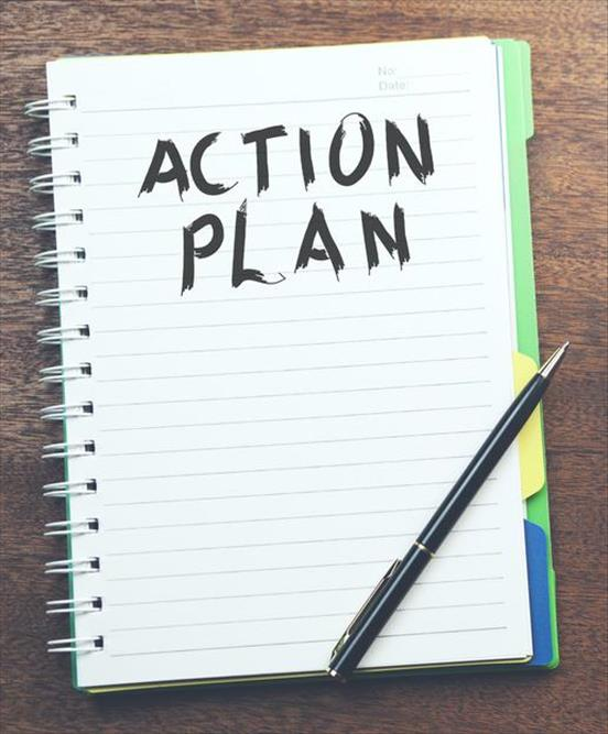 "Notebook page with ""Action Plan"" header"