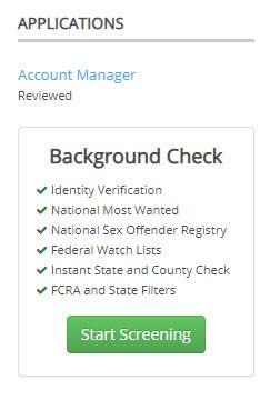 screen shot of ihire dashboard with background check ordering function