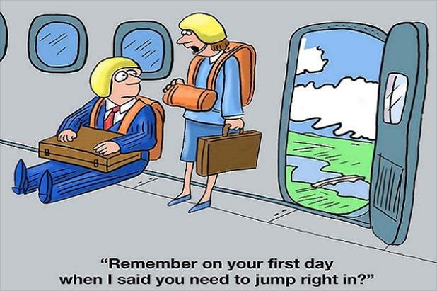 Cartoon using skydivers as a metaphor for employee onboarding