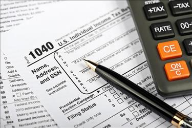 closeup of a 1040 tax form