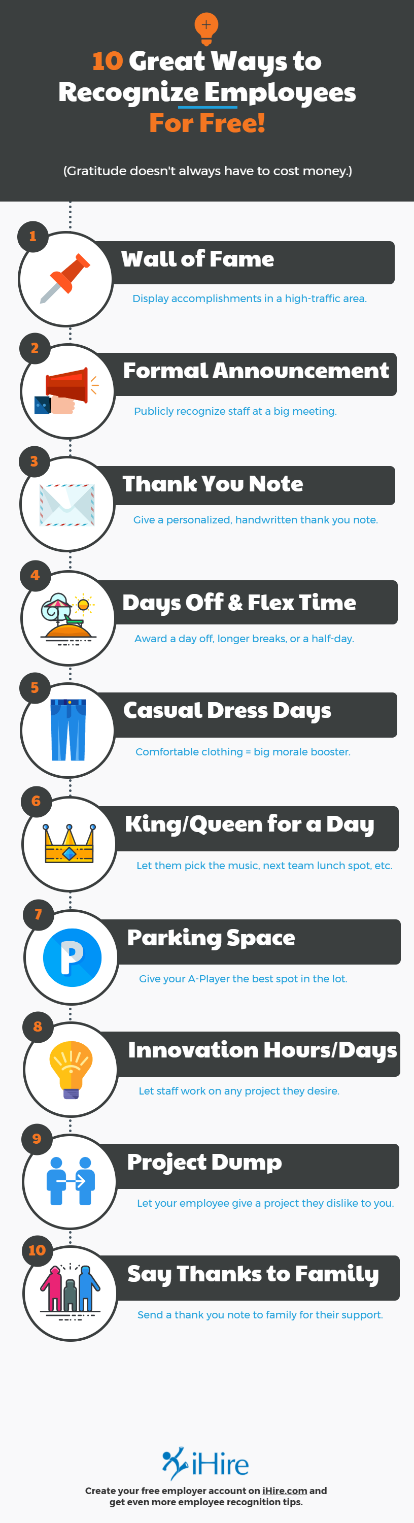 ten ways to recognize employees for free infographic