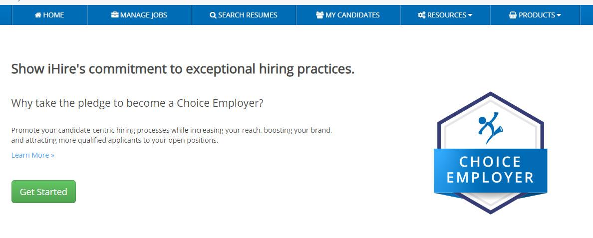 screenshot of the first step of ihire's choice employer pledge