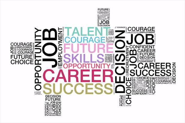 Word cloud listing various job search terms