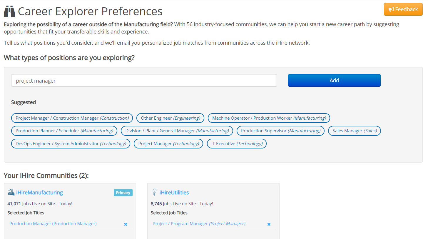 iHire Career Explorer Preferences page